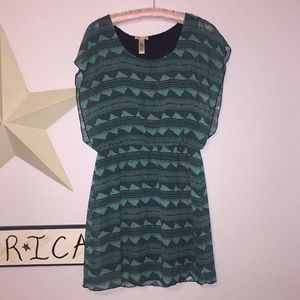 Green and black Short sleeve dress